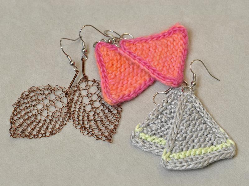 Knit Earrings - Wire & Wool