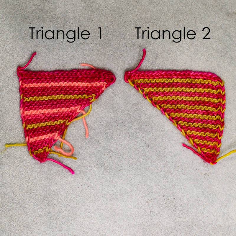 Two pieces of of the triangle necklace side by side